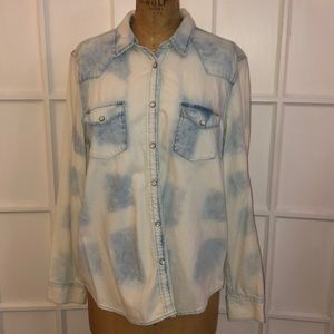 EUC GAP cloud wash denim western shirt XL